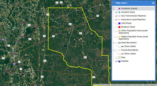 PHMSA shows no pipeline to Homerville, Map