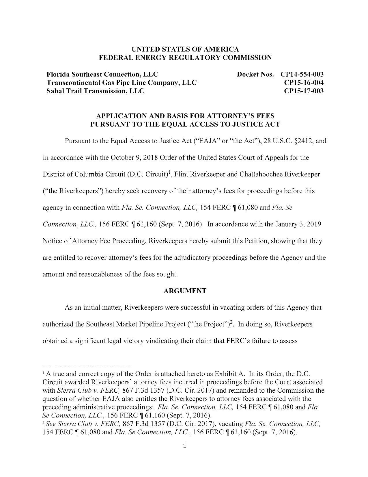 1275x1651 Application and Argument, Letter, in Riverkeepers seek attorney's fees for legal victory against FERC and Sabal Trail, by Kimberly A. Sturm, 4 February 2019