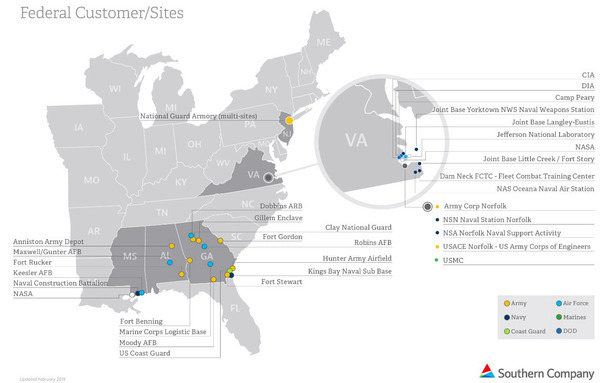 2015 Southern Company Map, Military