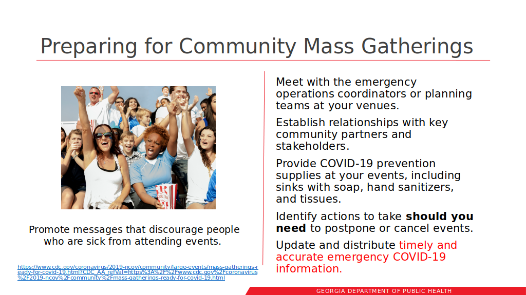 Preparing for Community Mass Gatherings --GA-DPH