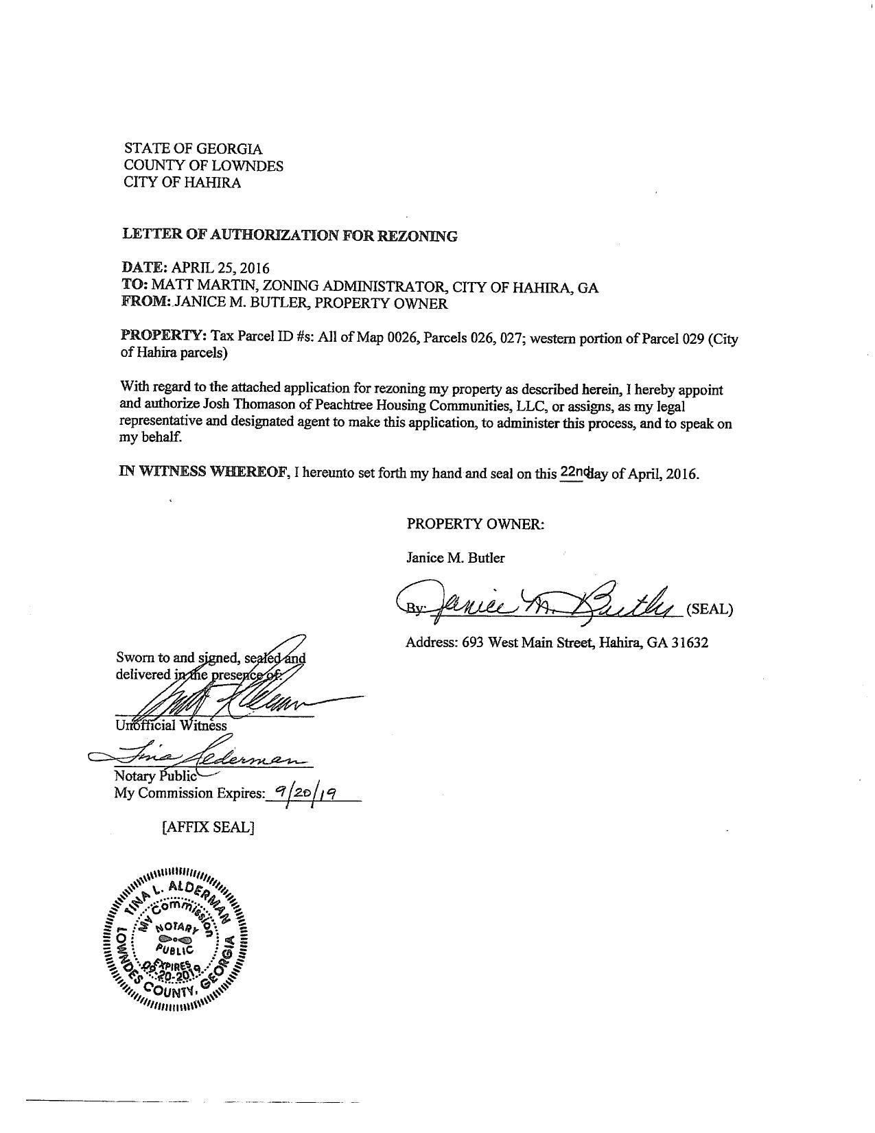 Letter of Authorization by property owner