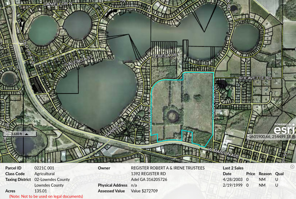 [114.7 acres to R-10, Parcel 0221C 001, Tax Assessors Map]