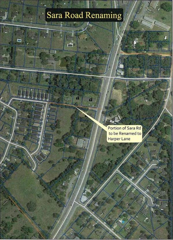 [Aerial Map: Sara Road Renaming]