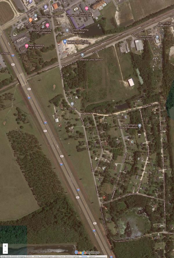 [Google map: Ridgecrest Street & Woodland Drive]