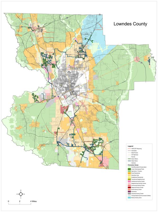 [Unfinished Lowndes County Character Area Map, courtesy Lowndes County Planner JD Dillard]